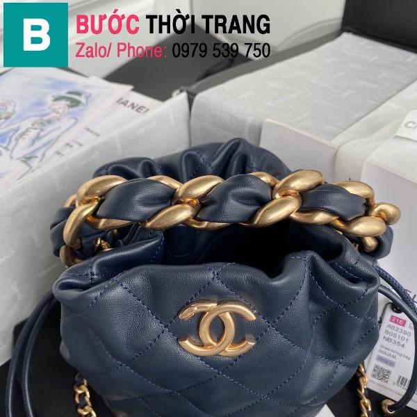 Túi dây rút Chanel siêu cấp da cừu bóng màu xanh tím than size 19cm - AS2390