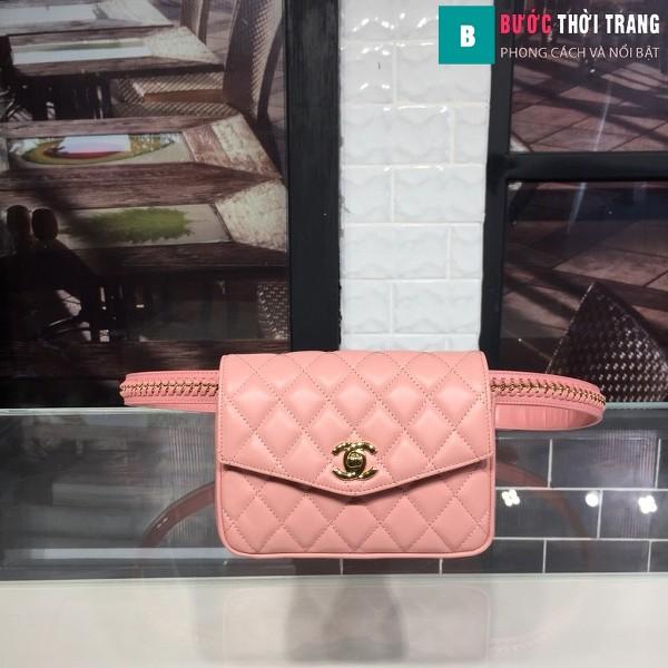 Túi xách đeo bụng Chanel siêu cấp màu hồng da bê size 17cm
