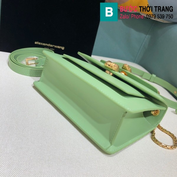 Túi xách Bvlgari Alexander Wang siêu cấp da bê màu xanh size 18.5cm