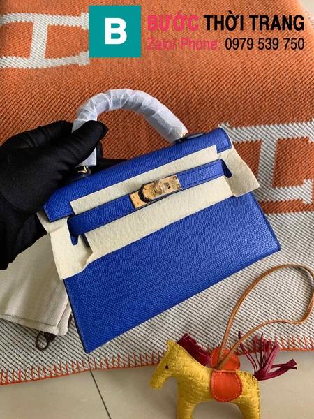 Túi xách Hermes Kelly mini siêu cấp da epsom màu xanh đậm size 19.5cm