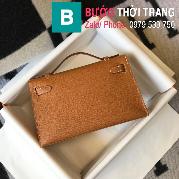 Túi xách Hermes Kelly Pochette siêu cấp da epsom màu bò size 22cm