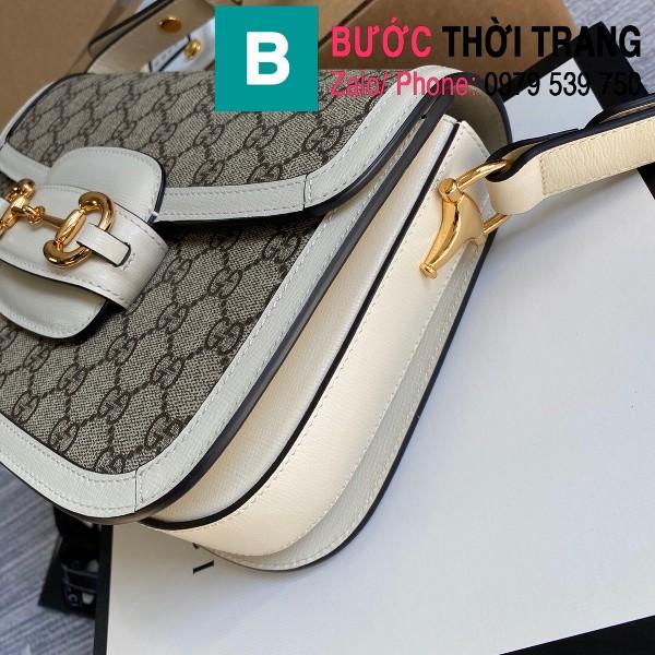Túi xách Gucci Horsebit 1955 shoulder bag siêu cấp vải casvan viền trắng size 25cm - 602204