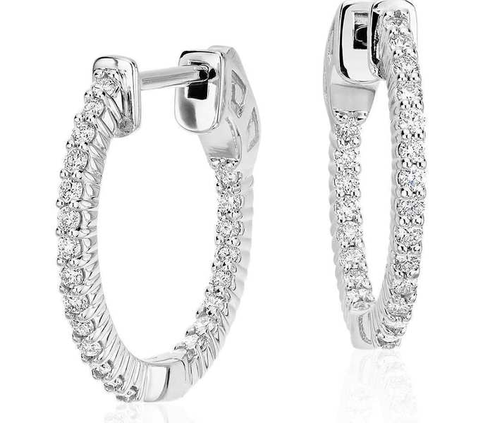 Pave 0 75 Carats Round Brilliant Cut Diamonds Hoop Earrings In