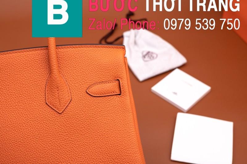 Túi xách Hermes Birkin siêu cấp da bê Togo cam đen size 30cm