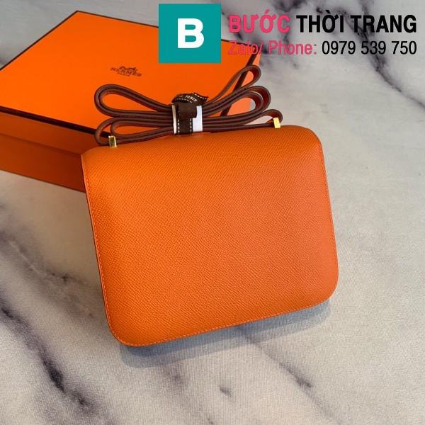 Túi xách Hermes Constance siêu cấp da epsom màu cam size 18cm