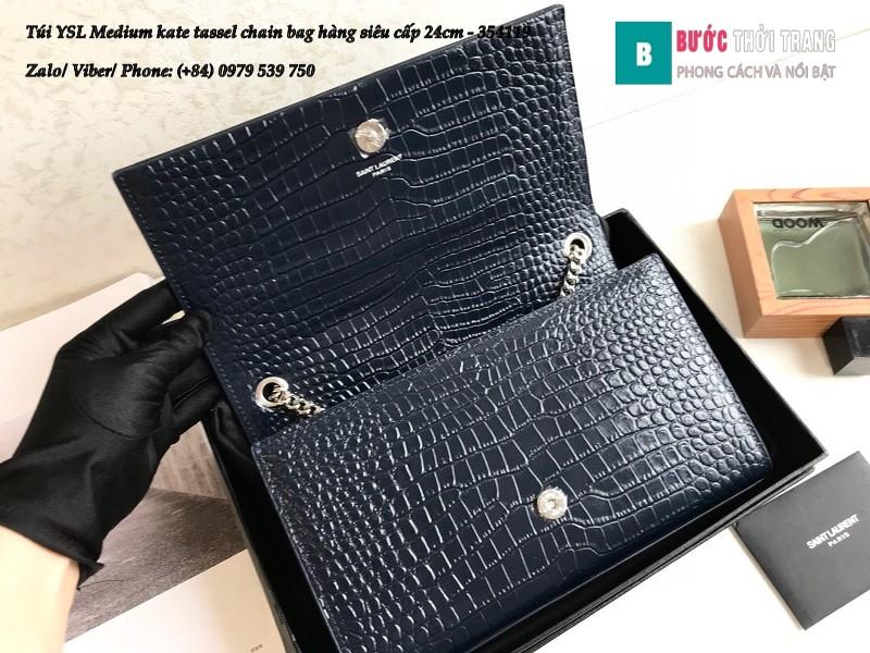 Túi YSL Medium kate tassel chain màu xanh tím than dập vân cá sấu 24cm - 354119