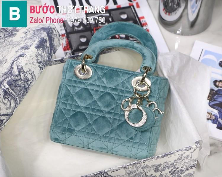 Túi xách Dior Lady Mini bag siêu cấp vải canvas màu xanh nhạt size 17 cm