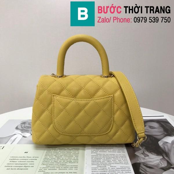 Túi xách Chanel Coco Handle Mini bag siêu cấp da bê màu vàng size 19cm - AS2215