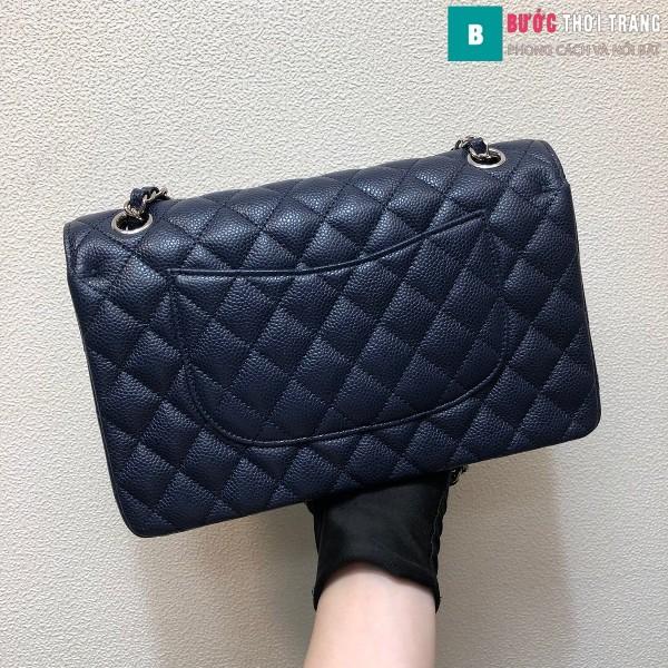 Túi xách Chanel Classic siêu cấp màu xanh đen size 25 cm - 1112