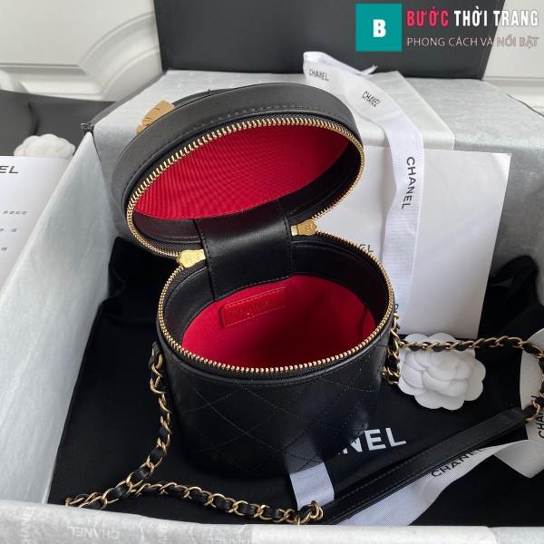 Túi xách Chanel Vanity case lambskin bag blach siêu cấp màu đen size 20 cm - AS2061