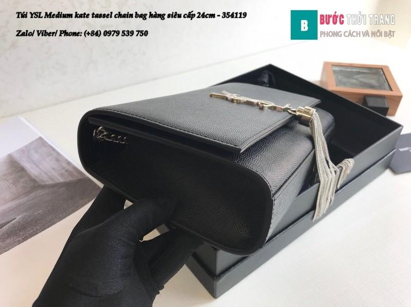 Túi YSL Medium kate tassel chain màu đen tag bạc size 24cm - 354119