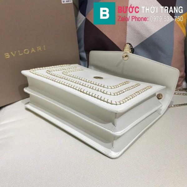 Túi Bvlgari Serventi Forever shoulder bag siêu cấp da bê màu trắng size 28cm - 35106