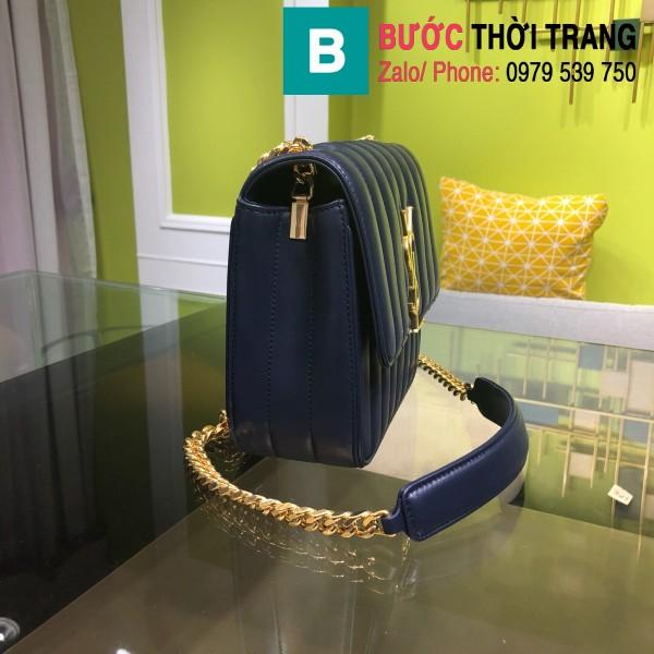 Túi xách YSL Saint Laurent Vicky bag siêu cấp da cừu non màu xanh size 20.5cm - 532612