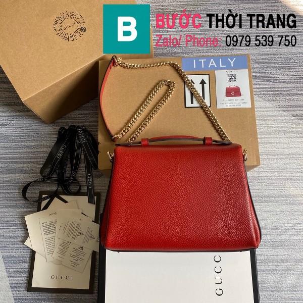 Túi xách Gucci Interlocking Leather Chain Crossbody Bag siêu cấp màu đỏ size 25cm - 510302
