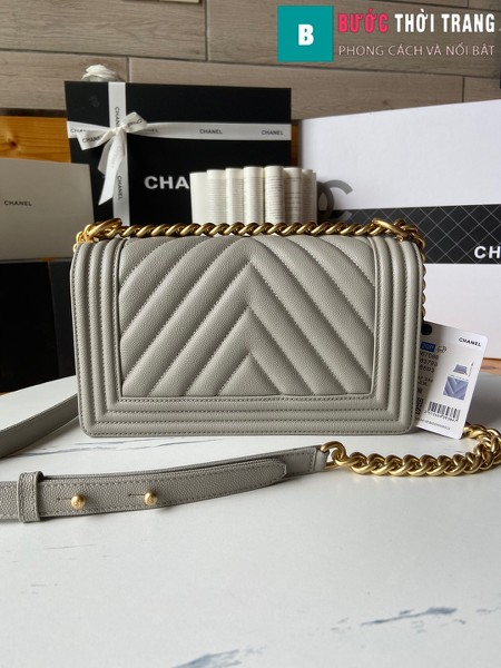 Túi xách Chanel boy siêu cấp vân v màu ghi size 25 cm - A67086