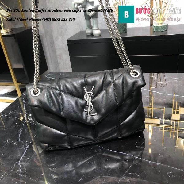 Túi YSL Loulou Puffer shoulder siêu cấp màu đen tag bạc size 29cm - 577476
