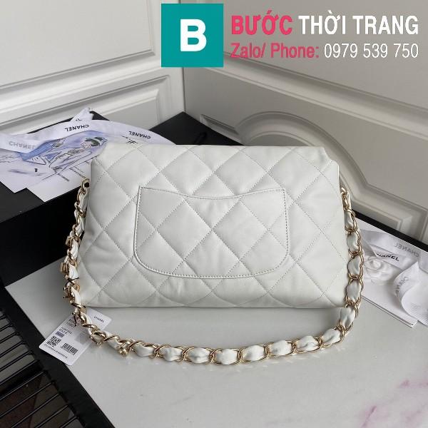 Túi xách Chanel Large Flap Bag siêu cấp da cừu màu trắng size 31 cm - AS2316