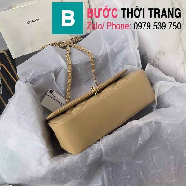 Túi đeo chéo Chanel siêu cấp mẫu mới da cừu màu nude size 23cm - AS1488