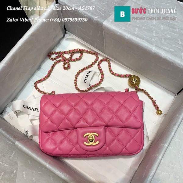 Túi xách Chanel Flap Bag siêu cấp da cừu màu hồng size 20cm - AS1787