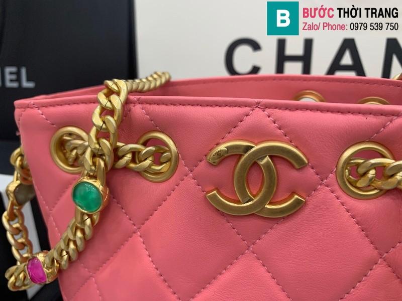 Túi xách Chanel Bag túi dây rút siêu cấp da cừu màu hồng size 19cm AS2381
