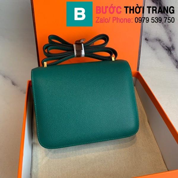 Túi xách Hermes Constance siêu cấp da epsom màu xanh e size 18cm