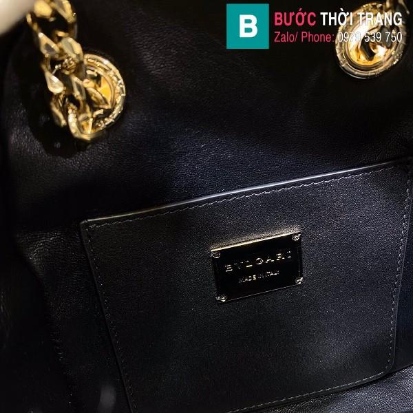 Túi Bvlgari Serventi Cabochon ba lô siêu cấp da bê màu đen size 18cm
