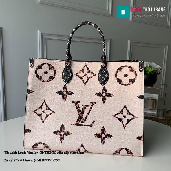 Túi xách Louis Vuitton ONTHEGO siêu cấp 2 mặt trắng đen size 41cm - M44576