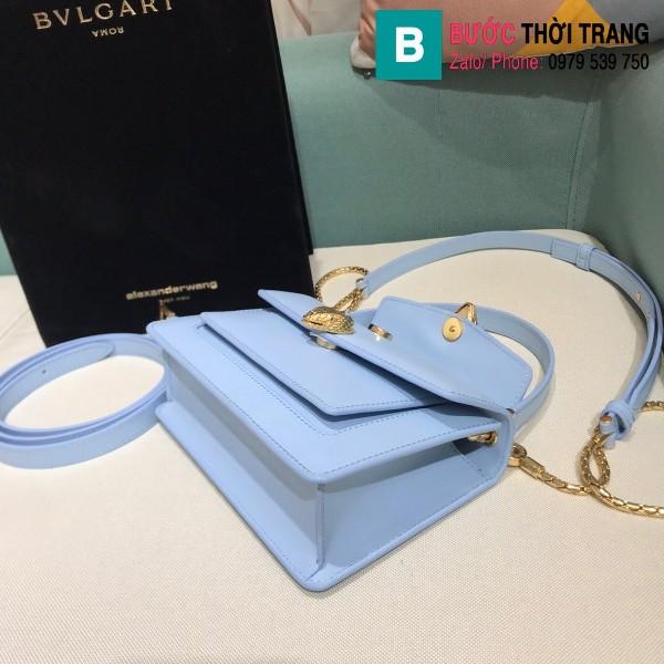 Túi xách Bvlgari Alexander Wang siêu cấp da bê màu xanh biển size 18.5cm