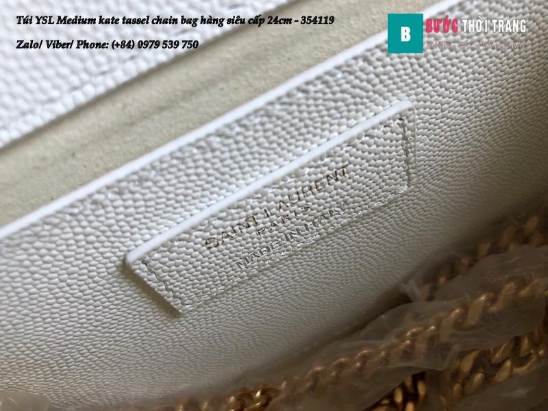 Túi YSL Medium kate tassel chain màu trắng tag vàng size 24cm - 354119
