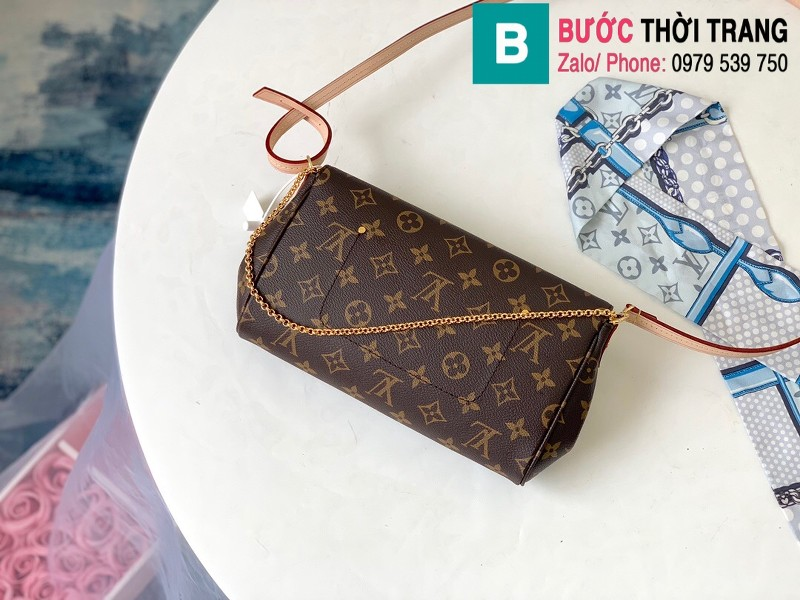 Túi Louis Vuitton Favorite MM siêu cấp màu nâu họa tiết size 28 cm - M40718