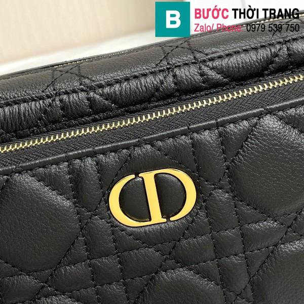 Túi xách Dior caro bag siêu cấp da bê màu đen size 19cm