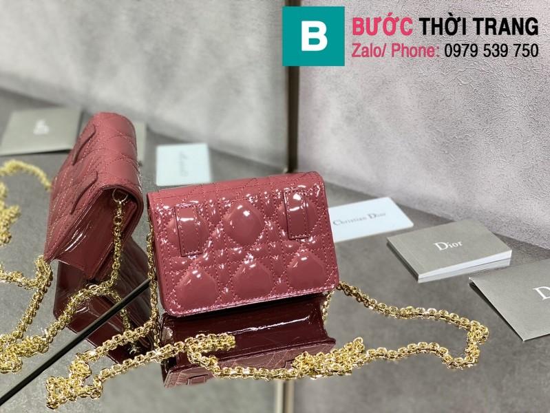 Túi xách Lady Dior Nano Pouck siêu cấp da bê màu hồng size 13.5cm -D6401