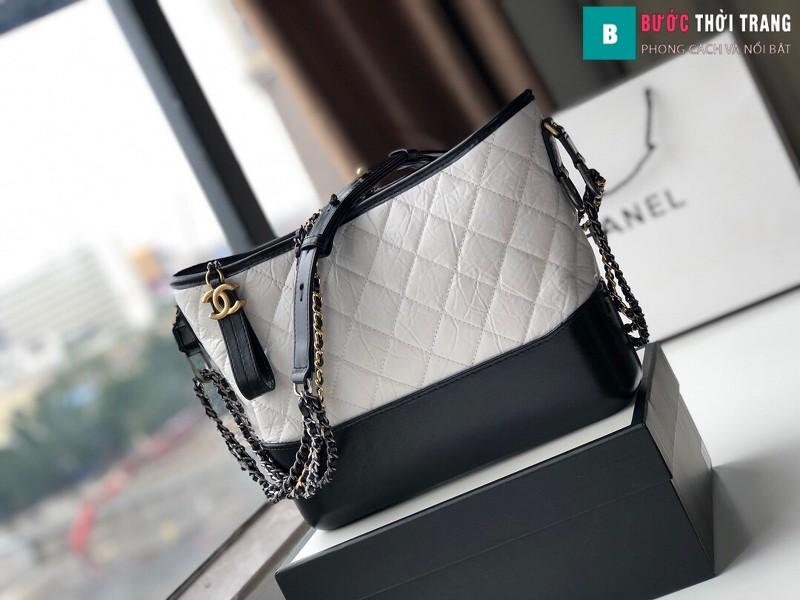 Túi xách Chanel Gabrielle hobo bag siêu cấp màu trắng đen size 28cm - 93824