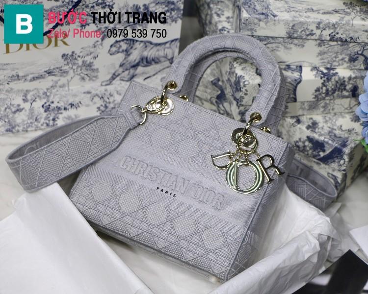 Túi xách Dior Lady D-Lite siêu cấp vải casvan màu xám size 24cm