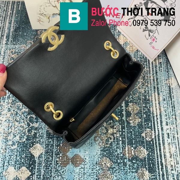 Túi đeo chéo Chanel siêu cấp nắp gập da cừu màu đen size 23cm - AS2388