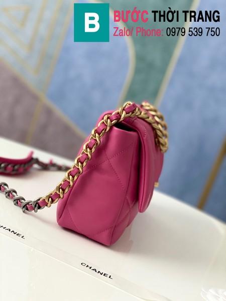 Túi xách Chanel 19 flap bag siêu cấp da bê màu hồng đậm size 26 cm - 1160
