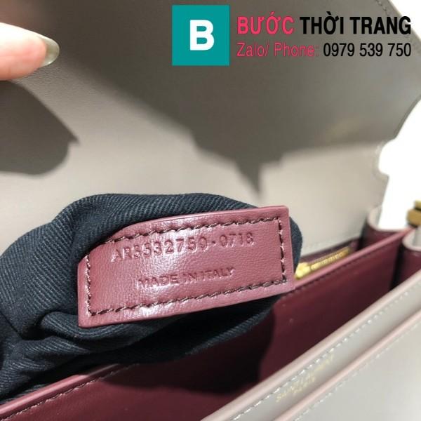 Túi xách YSLSaint Laurent Casandra bag siêu cấp màu xám size 22cm - 532750