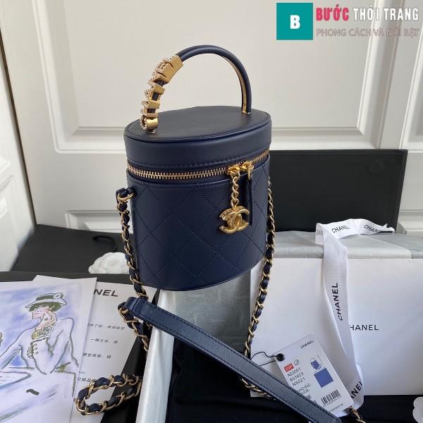 Túi xách Chanel Vanity case lambskin bag blach siêu cấp màu xanh size 20 cm - AS2061
