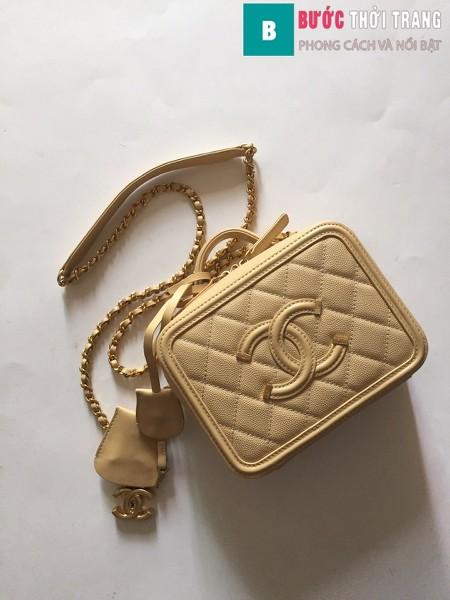 Túi xách Chanel Vanity case bag siêu cấp màu da size 17 cm - 93314