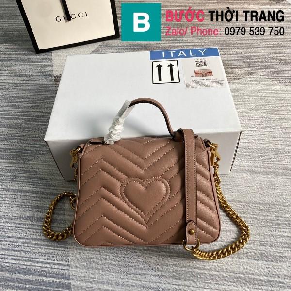 Túi xách Gucci Marmont mini top handle siêu cấp da chevron màu nude size 21cm - 547260