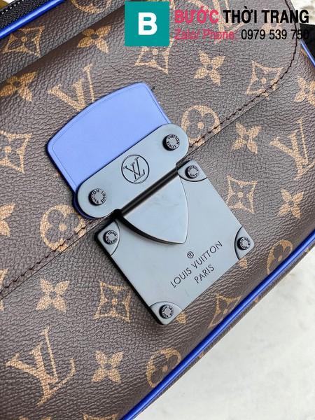 Túi xách Louis Vuitton S Lock messenger siêu cấp monogram viền xanh size 22cm - M45863
