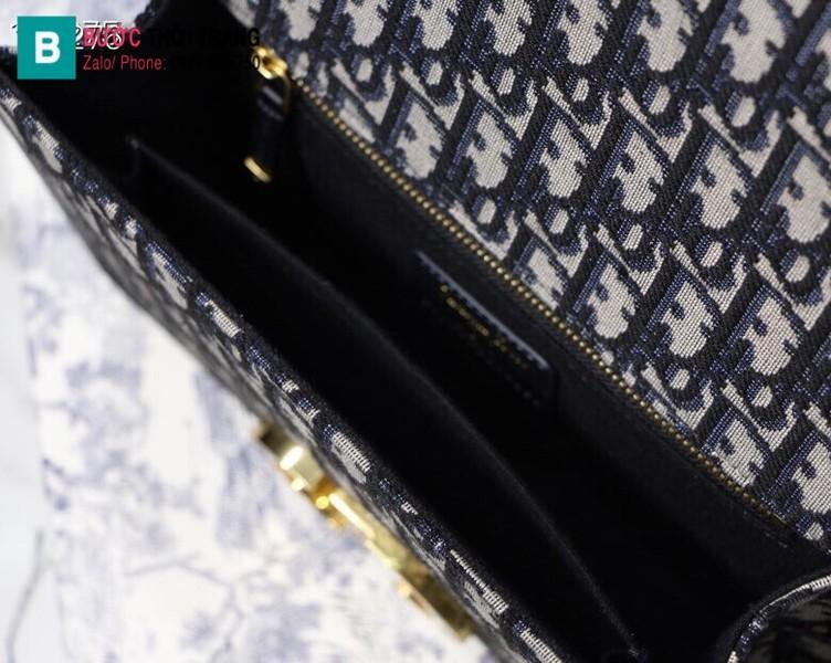 Túi xách Dior 30 Montaigne siêu cấp oblique jacquard màu xanh lam size 24 cm