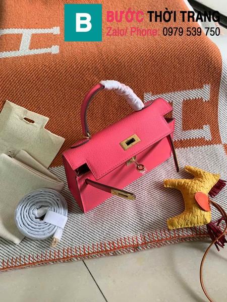 Túi xách Hermes Kelly mini siêu cấp da epsom màu hồng đậm size 19.5cm
