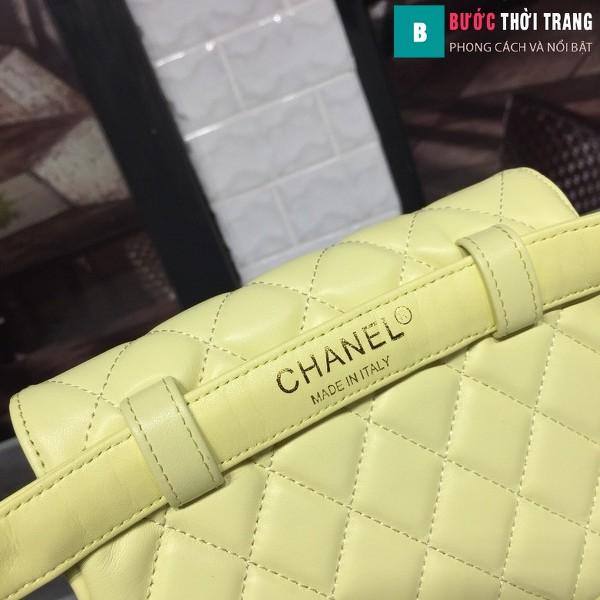 Túi xách đeo bụng Chanel siêu cấp màu vàng da bê size 17cm