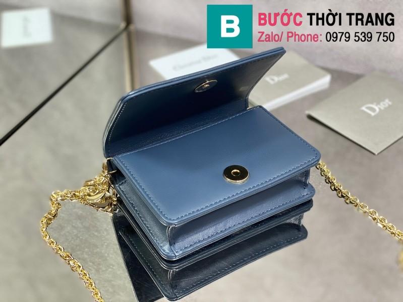 Túi xách Lady Dior Nano Pouck siêu cấp da bê màu xanh đậm size 13.5cm -D6401