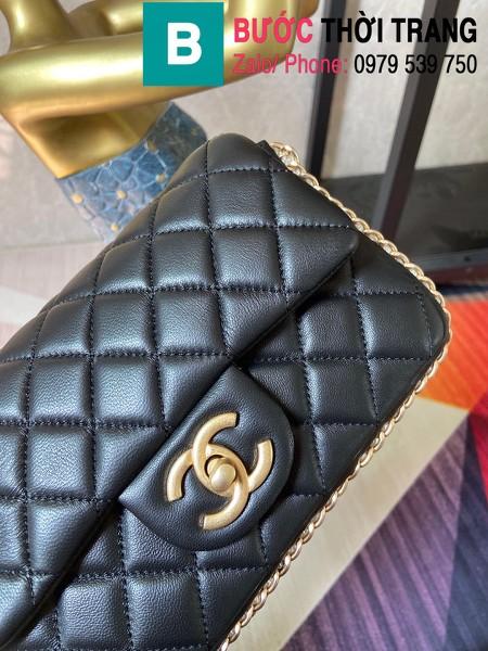 Túi xách Chanel Side Pearl Classic siêu cấp da cừu màu đen size 23cm - AS1740