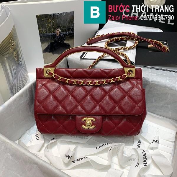 Túi xách Chanel Flap bag siêu cấp da cừu màu đỏ đô size 23cm - AS2438