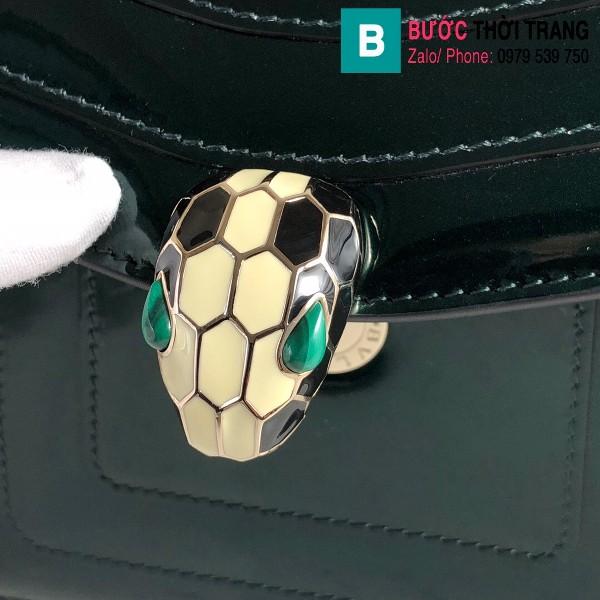 Túi xách Bvlgari Seventi forever siêu cấp da bóng màu xanh size 20 cm