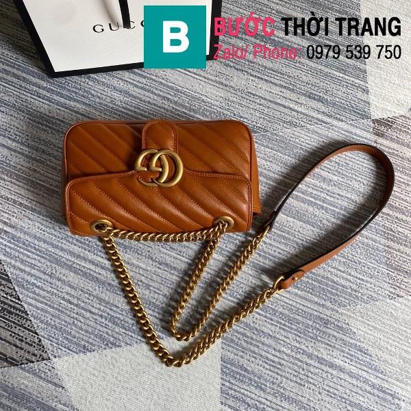 Túi xách Gucci Marmont matelasé mini bag siêu cấp màu đồng size 22cm - 446744