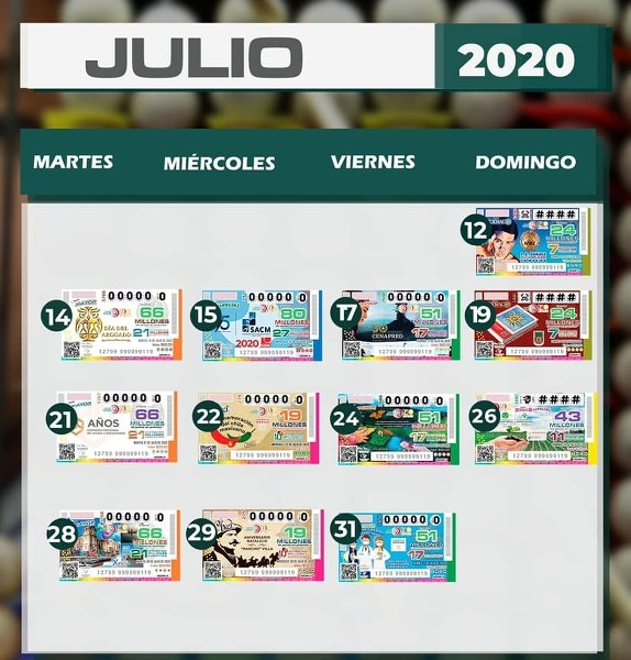 Calendario de Loteria Nacional de México en Julio del 2020